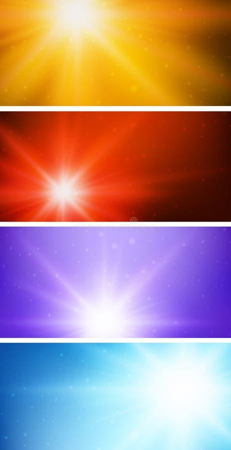 Cztery koloru różny tło z jaskrawym światłem royalty ilustracja
