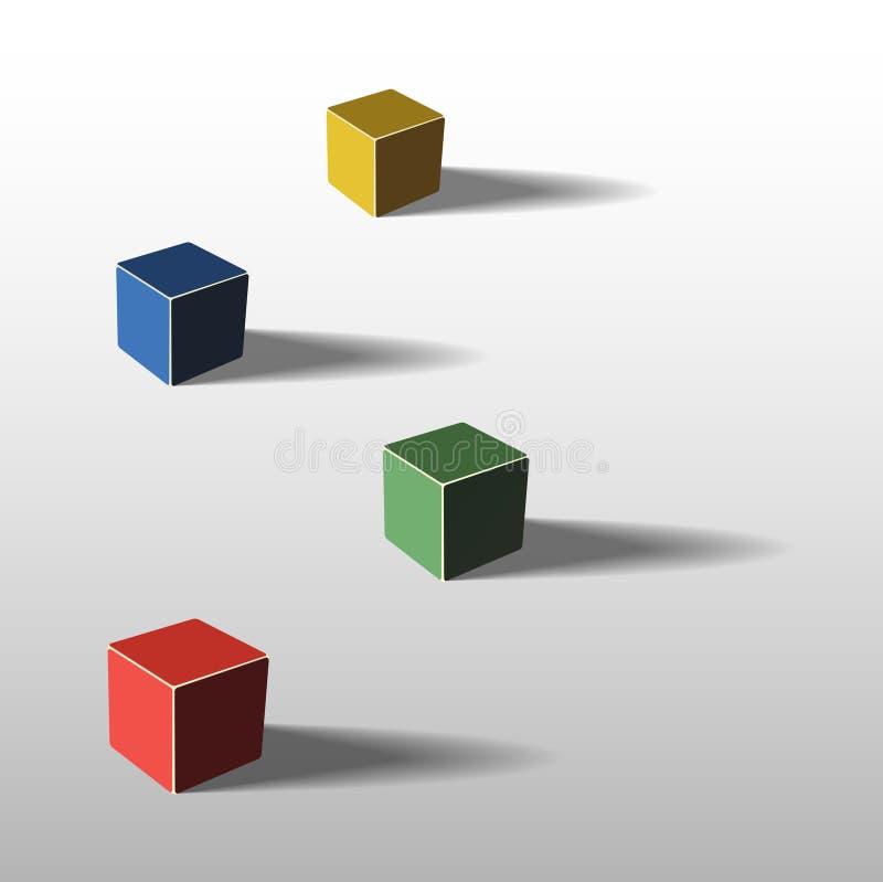 Cztery koloru sześcianu ilustracja wektor