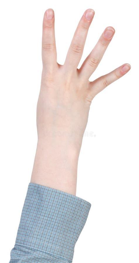 Cztery konto palcami - ręka gest obraz stock