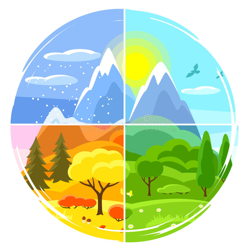 cztery krajobrazowego sezonu Ilustracje z drzewami, górami i wzgórzami w zimie, wiosna, lato, jesień royalty ilustracja
