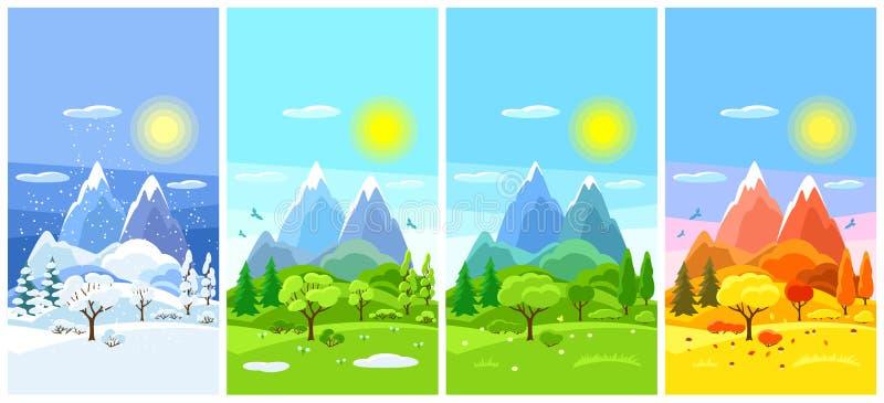 cztery krajobrazowego sezonu Sztandary z drzewami, górami i wzgórzami w zimie, wiosna, lato, jesień ilustracja wektor