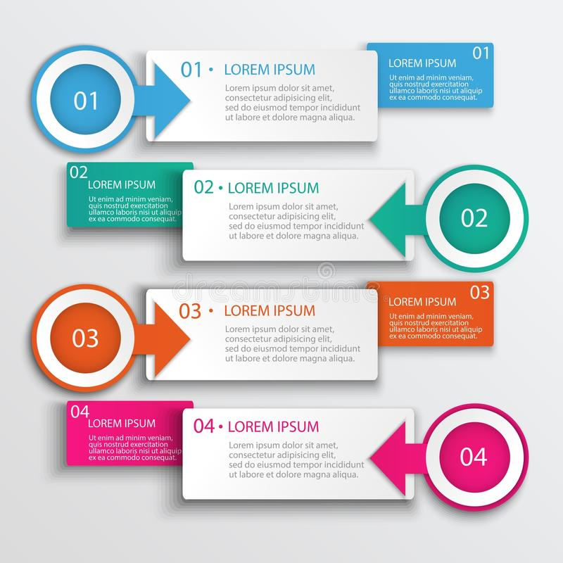 Cztery kroków Infographic projekta Nowożytna Wektorowa ilustracja royalty ilustracja