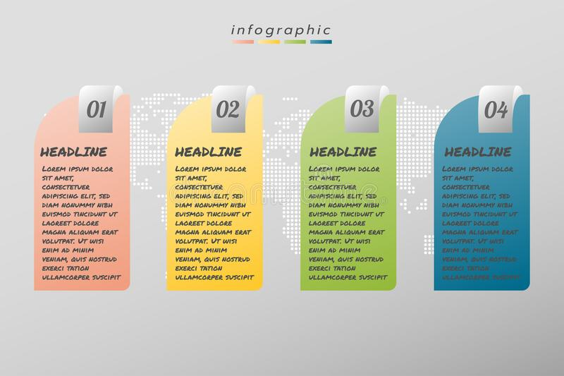 Cztery kroków projekta szablonu infographic biznes, ilustracja ilustracji