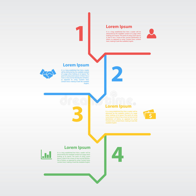 Cztery kroków sekwenci układu infographic pojęcie ilustracja wektor