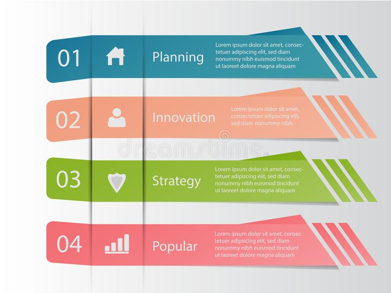 Cztery kroka infographic biznesowego dane ilustracji