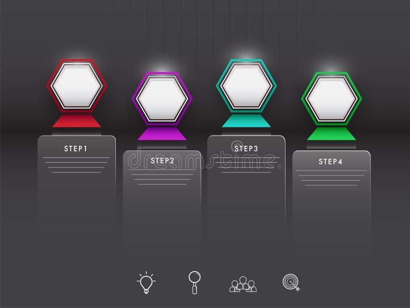 Cztery kroka infographic elementu z sieć symbolami royalty ilustracja