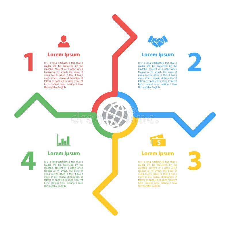 Cztery kroka jeździć na rowerze infographic układu pojęcie royalty ilustracja