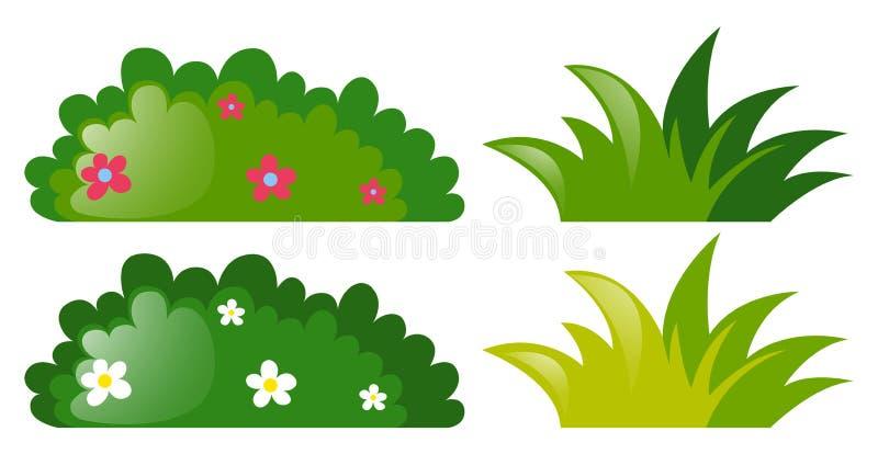 Cztery krzaka z i bez kwiatów royalty ilustracja