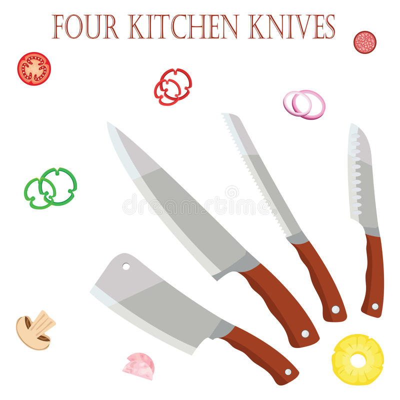 Cztery kuchennego noża dla szefa kuchni dla szefów kuchni z warzywami EPS10 ilustracja wektor
