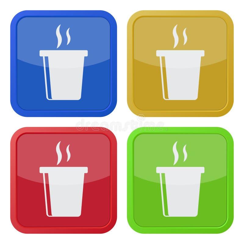 Cztery kwadratowej kolor ikony, gorący fastfood napój, dym royalty ilustracja