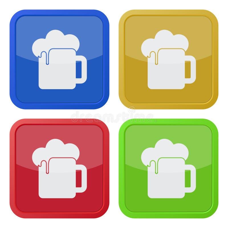 Cztery kwadratowej kolor ikony, piwo z pianą ilustracji