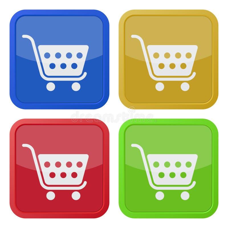 Cztery kwadratowej kolor ikony, wózek na zakupy royalty ilustracja