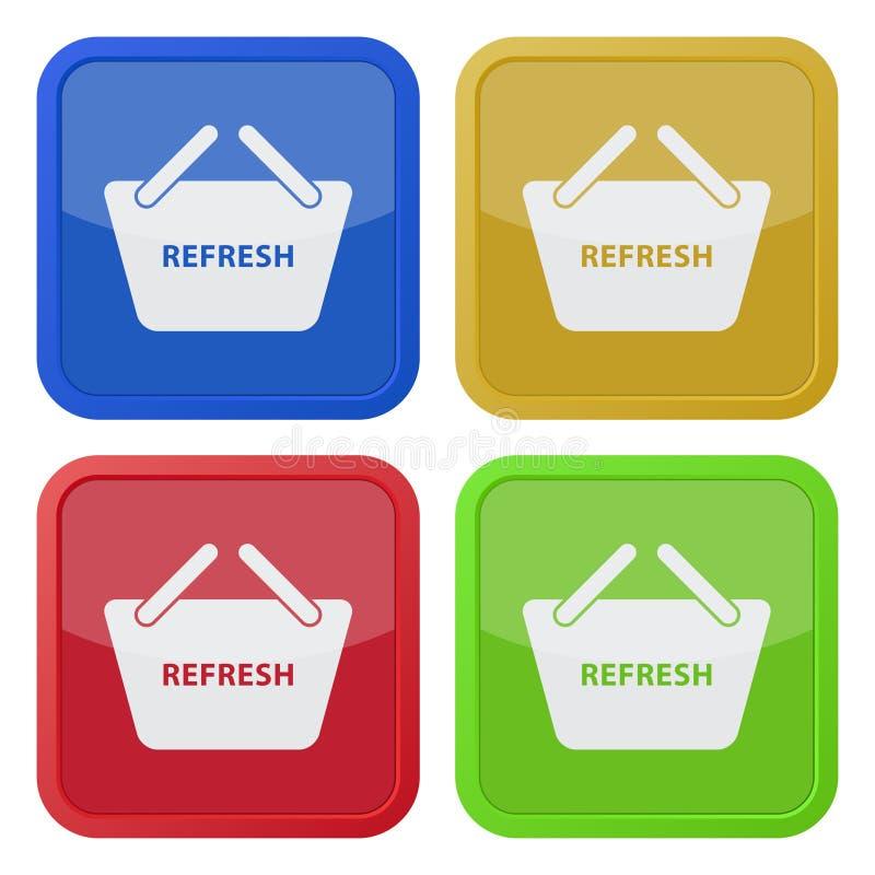 Cztery kwadratowej kolor ikony, zakupy kosz ilustracji