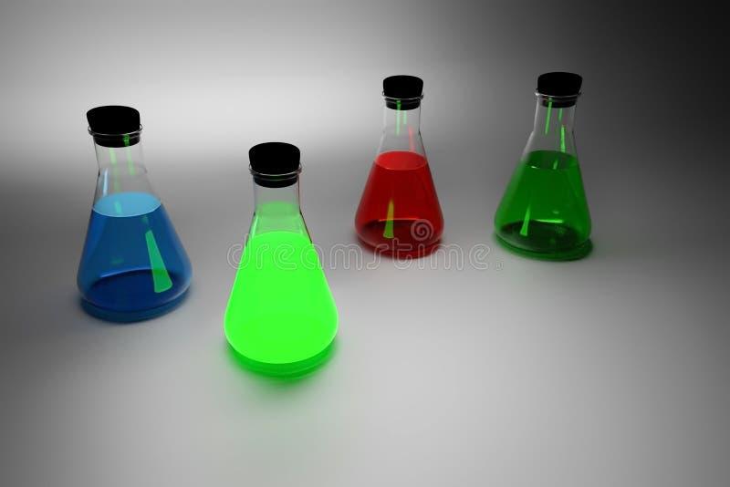 Cztery laboranckiej Erlenmeyer szklanej kolby z czerń korkiem czopują royalty ilustracja