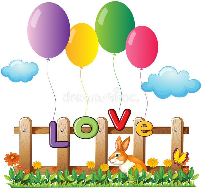 Cztery latać balonu blisko drewnianego ogrodzenia z królikiem royalty ilustracja