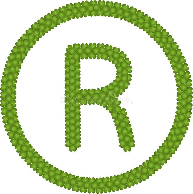 Cztery Liść Koniczyna Rejestrowy Symbol ilustracji
