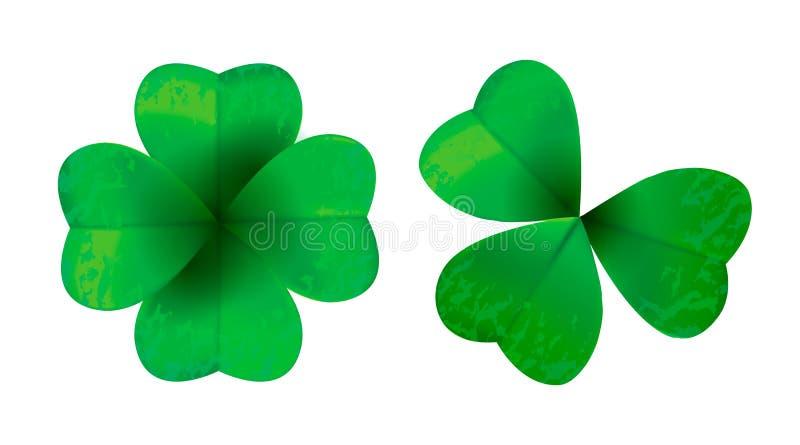 Cztery liści koniczyna odizolowywająca na białym tle, wektorowa ilustracja dla St Patrick ` s dnia ilustracja wektor