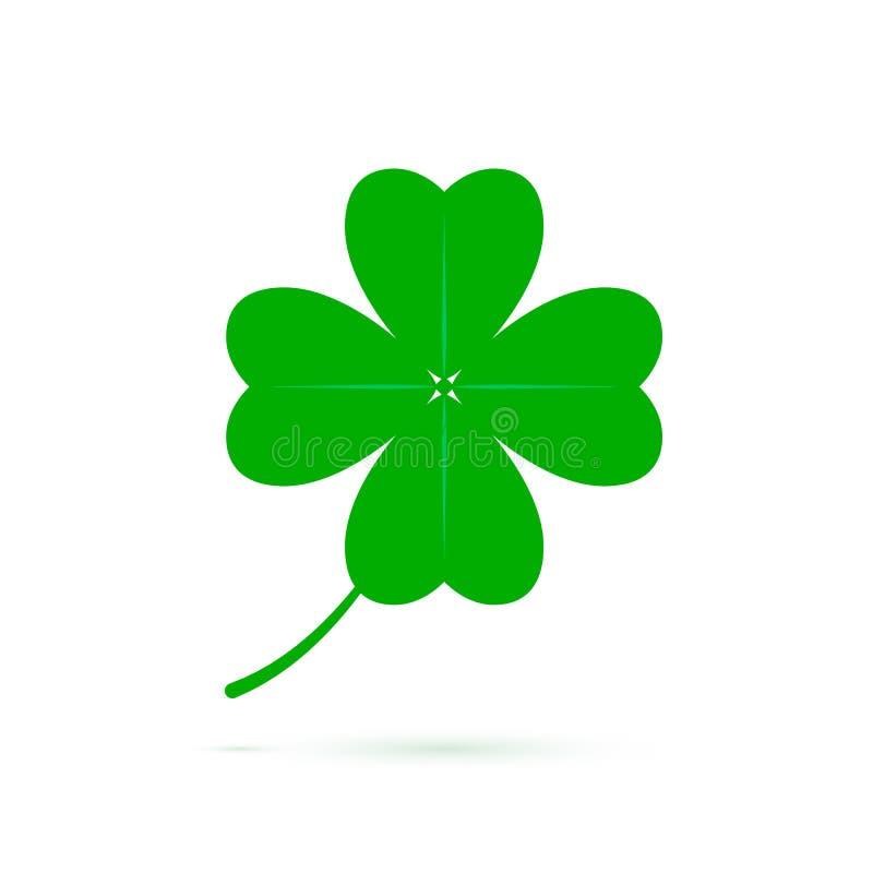 Cztery liści koniczynowy symbol szczęście Zielona koniczynowa ikona odizolowywająca na białym tle Symbol St Patrics dzień również ilustracji