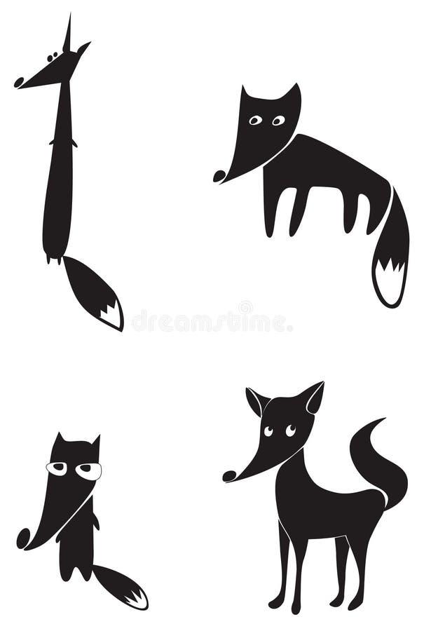 Cztery lisa czarny sylwetki royalty ilustracja