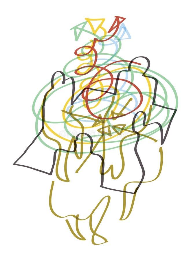 Cztery ludzie komunikują - Brainstorming royalty ilustracja
