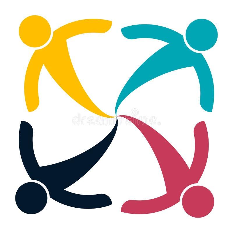 Cztery ludzie w okręgu mienia rękach Szczytów pracownicy spotykają w ten sam władza pokoju ilustracja wektor