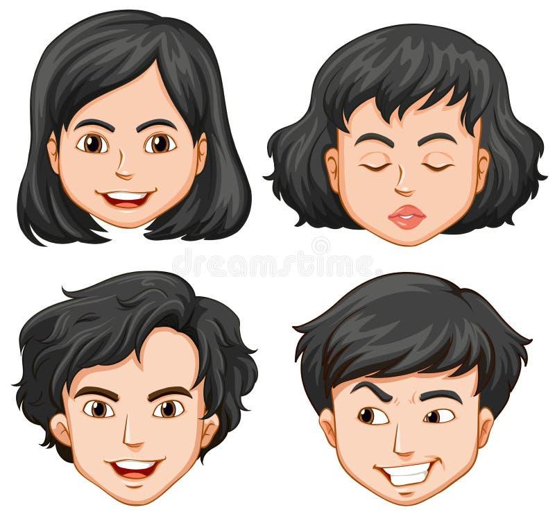 Cztery ludzie z różnymi uczuciami ilustracji