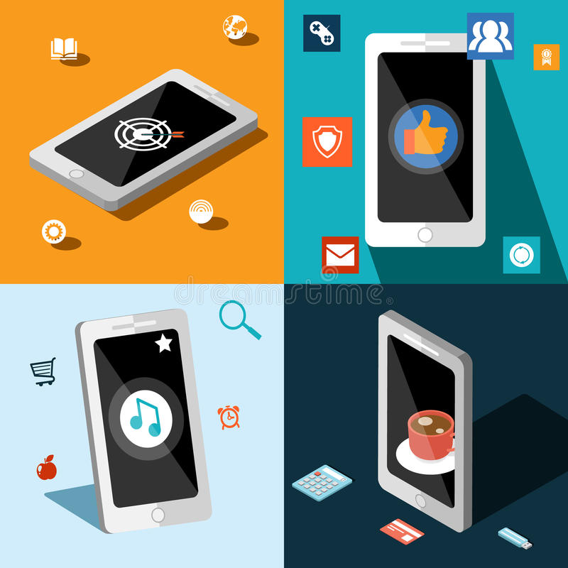 Cztery mądrze telefonu w panel ilustracja wektor