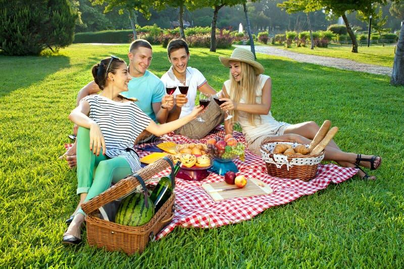 Młodzi przyjaciele picnicking w parku zdjęcie royalty free