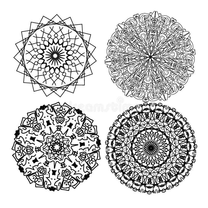 cztery mandalas ilustracji
