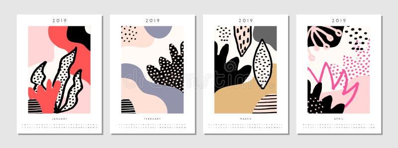 2019 Cztery miesięcy Printable Kalendarzowy szablon royalty ilustracja