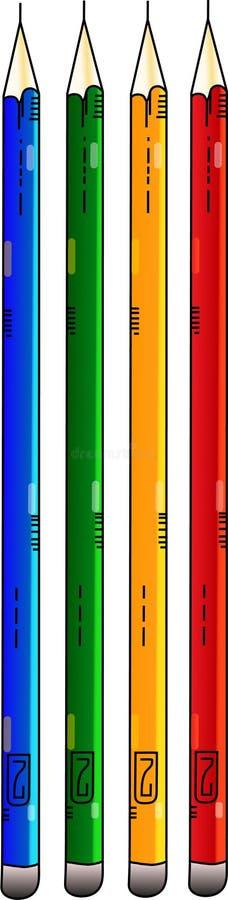 Cztery ołówków błękitnej zieleni piękny kolor żółty i czerwień ilustracji