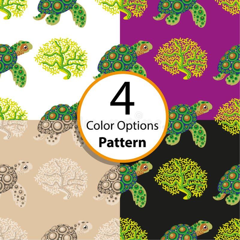 Cztery opcj bezszwowy wzór z tropikalnym żółwiem i koralem ilustracji