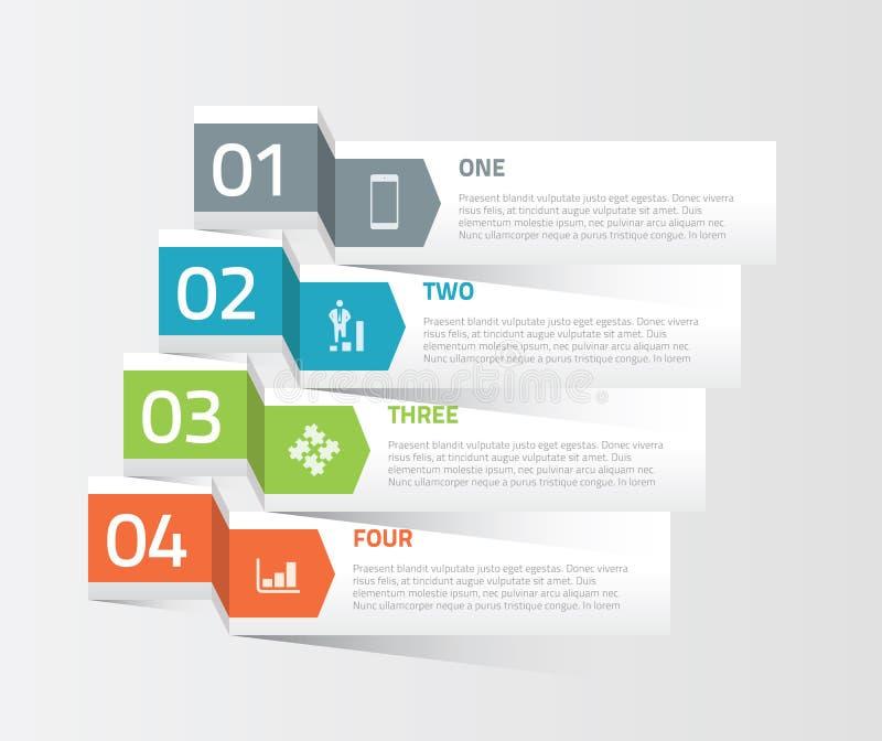 Cztery origami opci elementów papierowy infographic vec ilustracja wektor