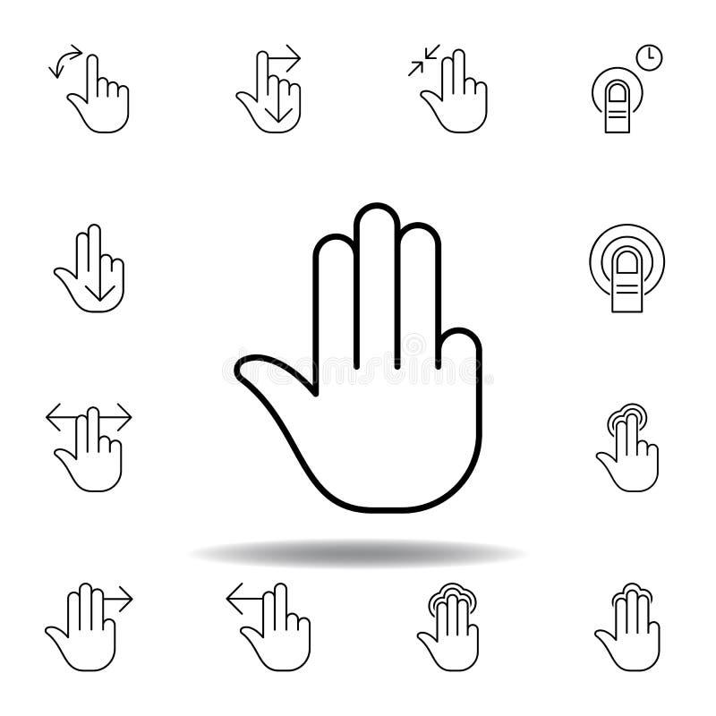 cztery palców gesta konturu ikona Set ręk gesturies ilustracyjni Znaki i symbole mog? u?ywa? dla sieci, logo, mobilny app, UI ilustracja wektor