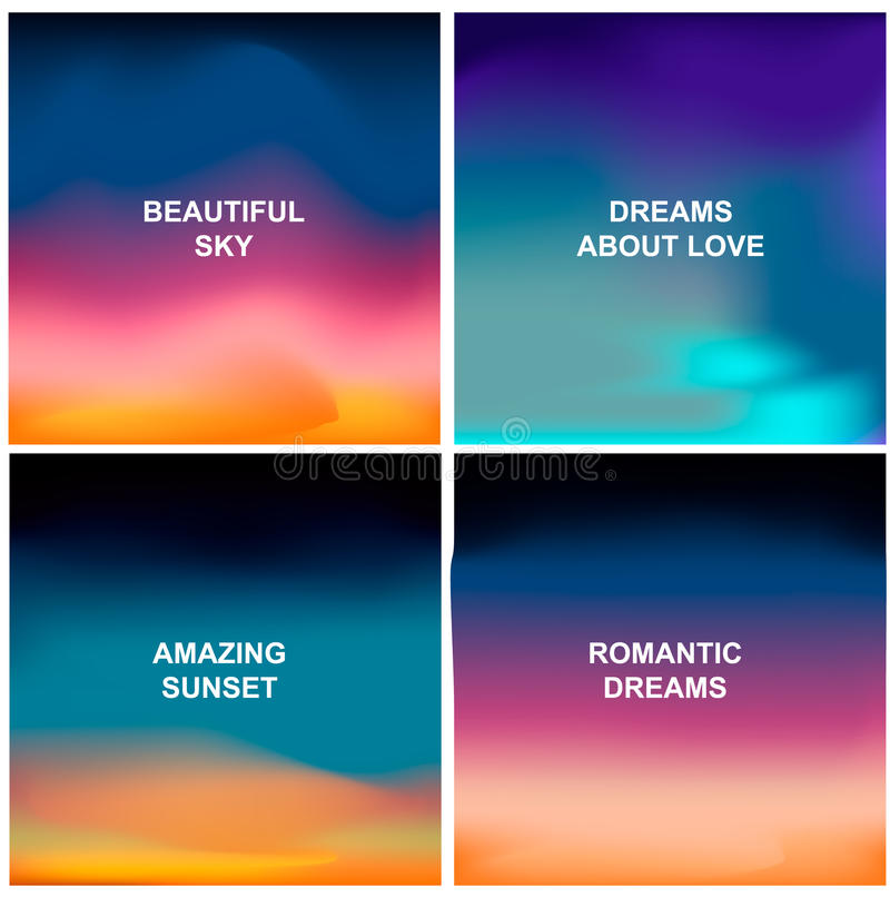 Cztery pięknego tła Zamazani abstrakcjonistyczni tła lubią wschód słońca, zmierzch lub zadziwiającego niebo, ilustracja wektor