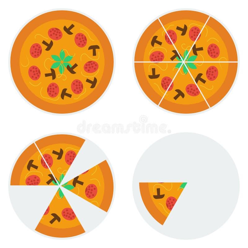 Cztery pizzy ikony ilustracji