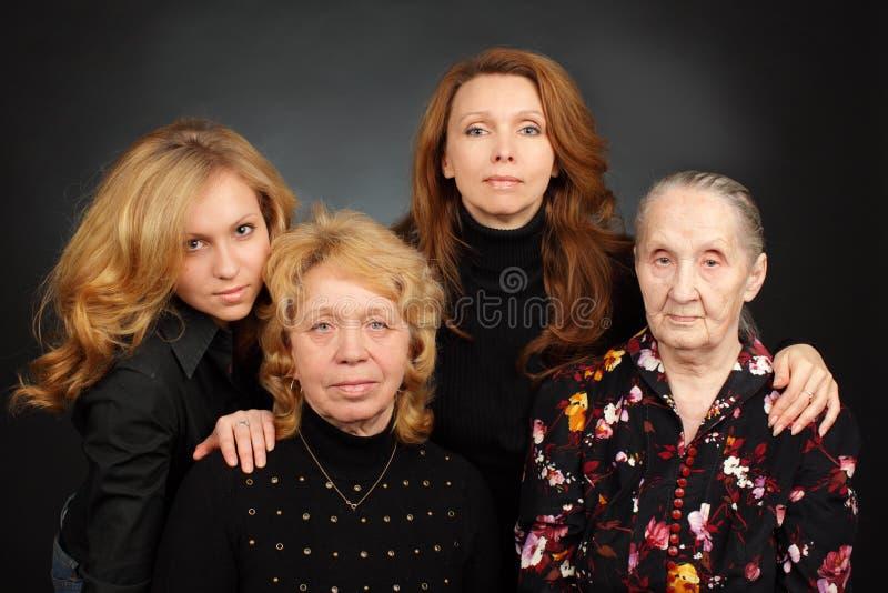 Cztery pokolenia kobiety w rodzinie zdjęcia royalty free
