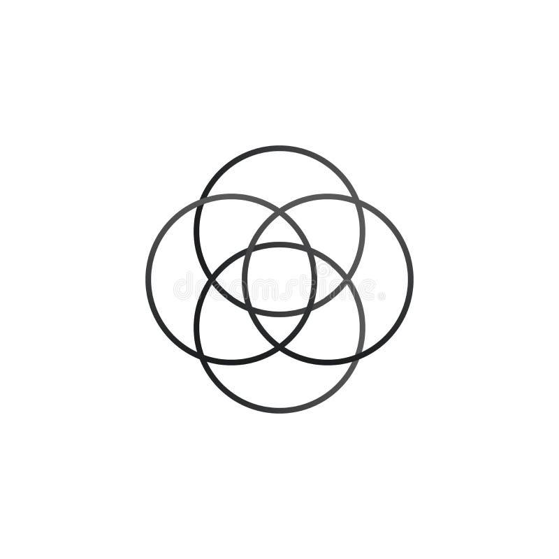 Cztery pokrywają się okręgu infographic Szablon dla diagrama, wykresu, prezentaci i mapy, Biznesowy pojęcie z trzy opcjami, ilustracja wektor