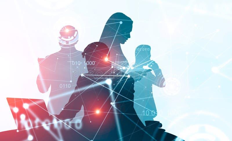 Cztery pomyślnego kierownika i cyfrowego interfejs ilustracji