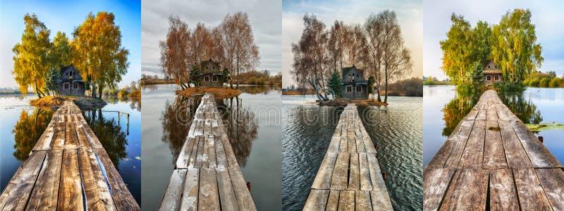 cztery pory roku buda na małej wyspie zdjęcie royalty free