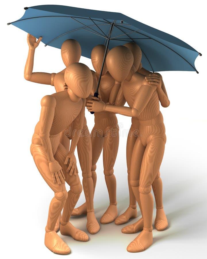 Cztery postaci stoi pod parasolem
