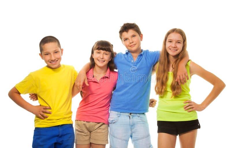Cztery preteens dzieciaka fotografia royalty free