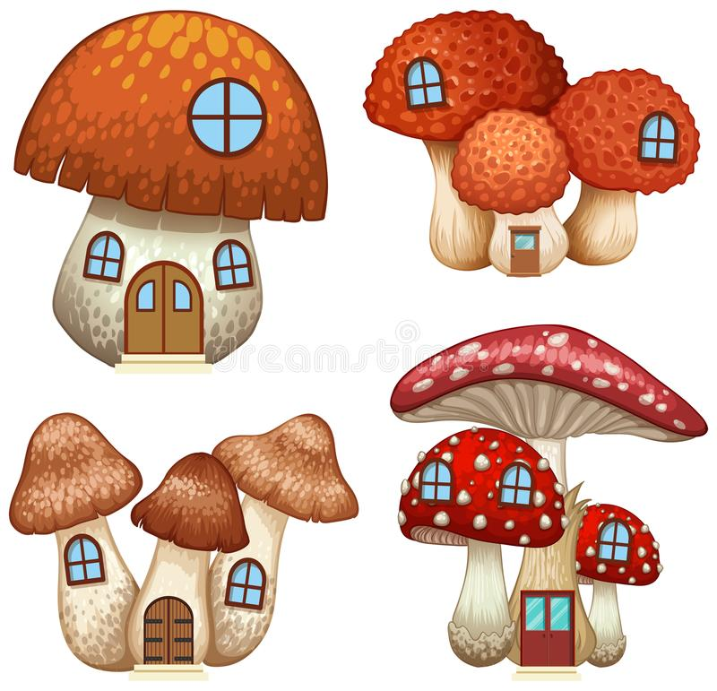 Cztery projekta pieczarkowi domy ilustracja wektor