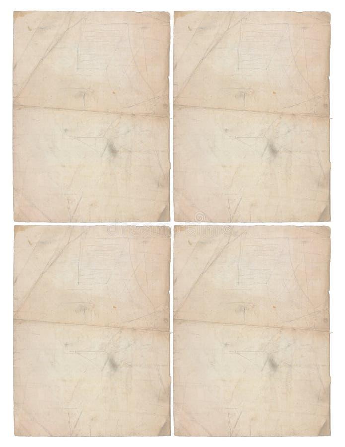Cztery prześcieradła starzejący się papier fotografia royalty free