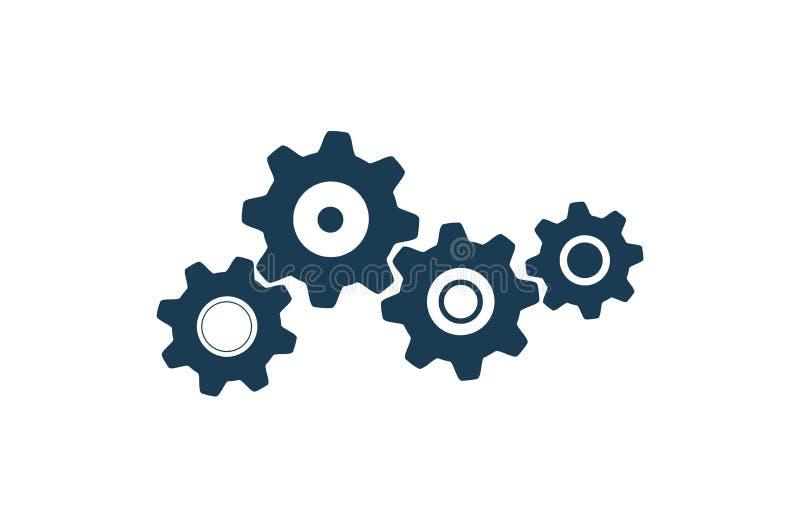 Cztery przek?adni ikona technologia szyldowi i maszynowi mechanizmy odizolowywali wektorowego wizerunek ilustracji