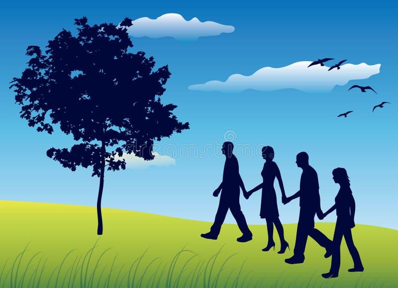 Cztery przyjaciela trzyma dla ręk i odprowadzenia na polu ilustracji