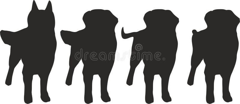 Cztery psa z różną ogonu wektoru ilustracją ilustracja wektor