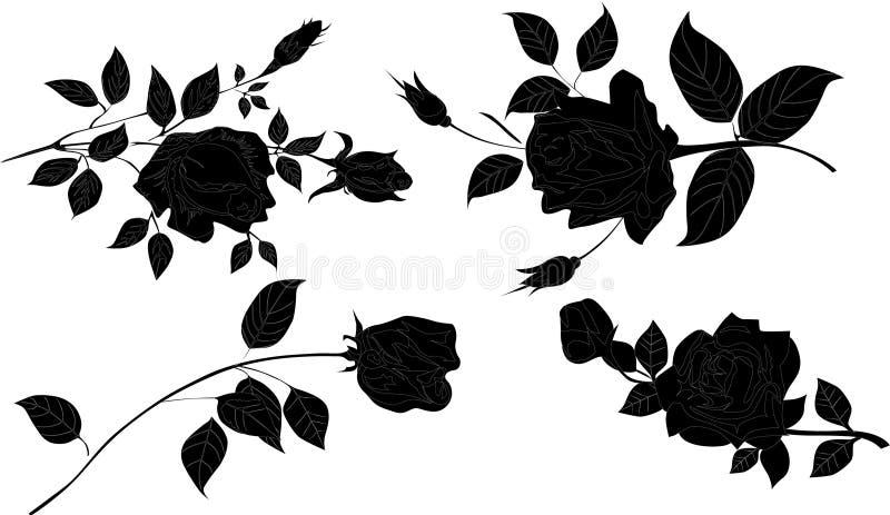 cztery różane sylwetki kwiat ilustracja wektor