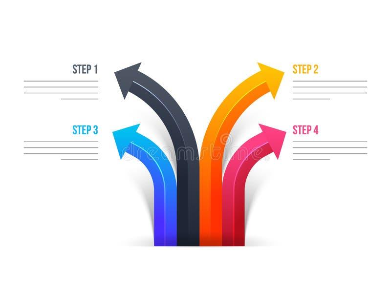 Cztery różnego kroka kolorowa strzała dla Biznesowego Infographic ilustracja wektor