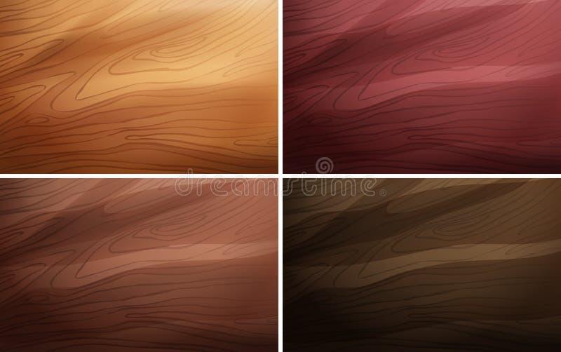 Cztery różnego tło szablonu z drewnianą teksturą royalty ilustracja